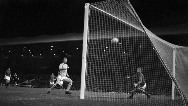 MAGIC OF THE CUP: Mike Summerbee scores to give the Blues a 4-3 aggregate victory in the 1969/70 League Cup semi-final.