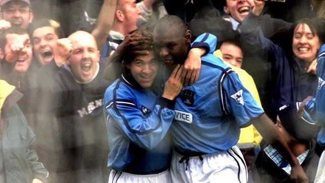 FEED THE GOAT: Shaun Goater celebrates during the 3-1 win in 2002 - the last derby played at Maine Road.