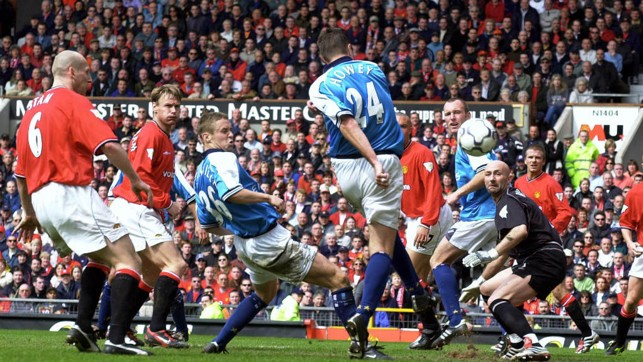 EQUALISER: A late leveller from Steve Howey rescued a point at Old Trafford in 2001.