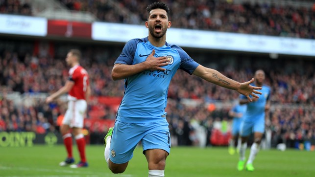 ON THE SPOT: Aguero celebrates his goal that doubled City's lead.
