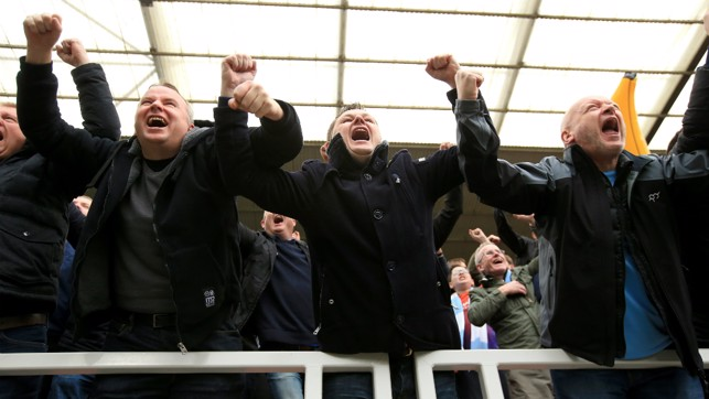 GET IN: The City faithful go wild after City go 2-0 up.