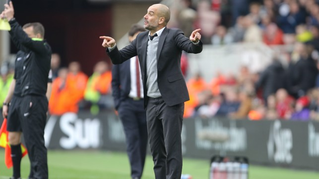 THE CONDUCTOR: Pep orchestrates his players at the Riverside Stadium.