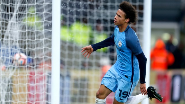 SUPER SANE: Leroy runs off to celebrate his strike against Crystal Palace.