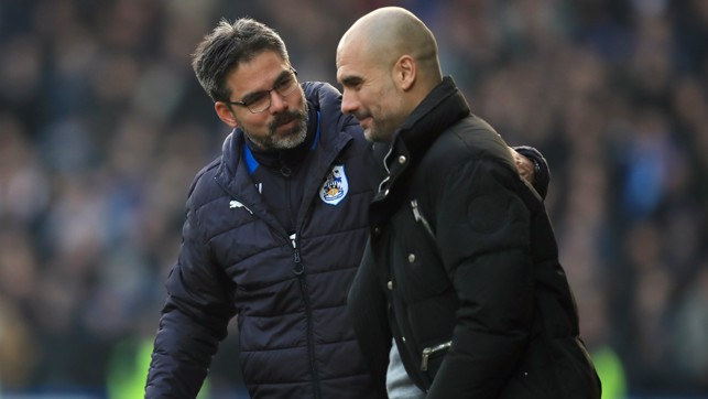 OPPOSITE NUMBERS: Pep and David Wagner greet each other after the full time whistle.