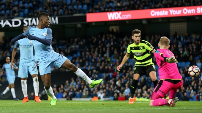 SEALING PROGRESSION: Kelechi Iheanacho adds his name to the scoresheet in the 91st minute.