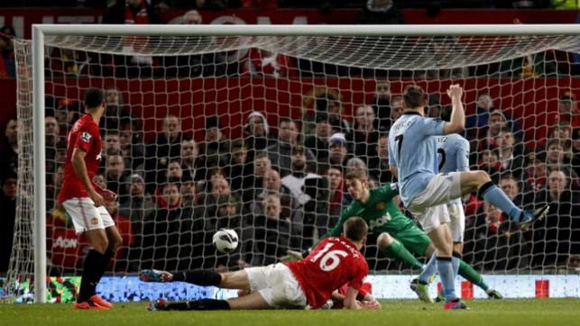 DRILLED: James Milner grabbed a derby goal in 2013.