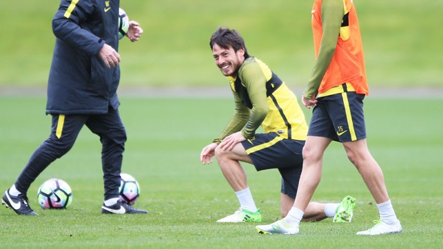 SMLILING SILVA: David has a laugh during the training session.