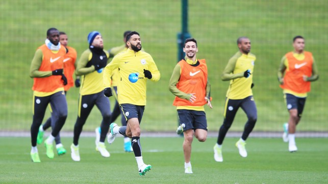LEADING FROM THE FRONT: Clichy and Jesus Navas lead the way in the warm-up.