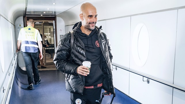 Pep makes his way onboard