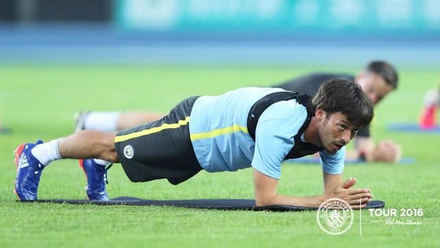 PUSH-UP: David Silva working hard after his long flight