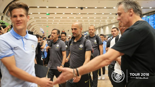 RIGHT THIS WAY: Pep making his way through arrivals