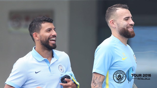 BEARD BROS: Sergio's got a way to go to match Nicolas on the follicle front.