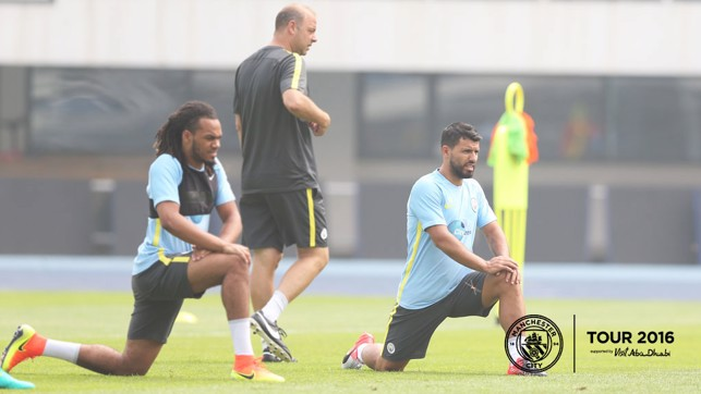 STRETCH IT OUT: Aguero and Denayer prepare for the session.