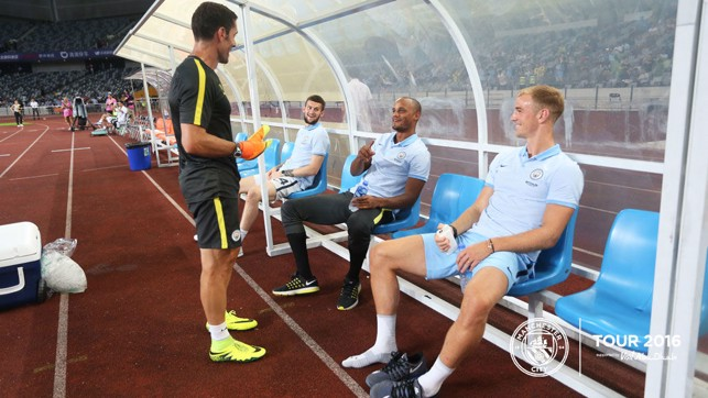 NOT TODAY: City's absentees take to their seats ahead of the game.