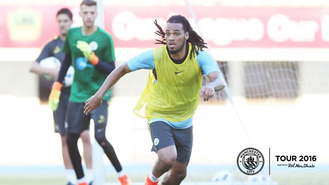 BALL PLAYER: Denayer looks to bring the ball out from defence during a small-sided game.
