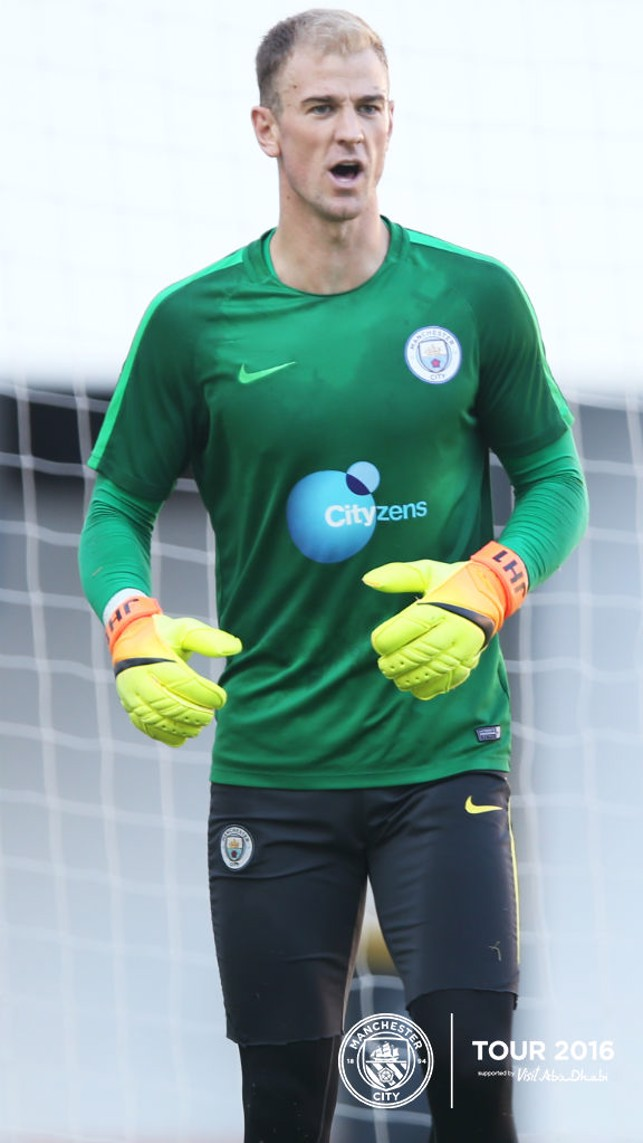 KEEP 'EM COMING: Joe Hart sets himself for yet another effort on goal.