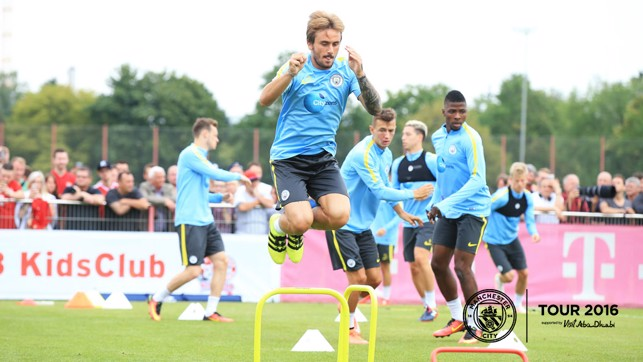 FLYING LEAP: Aleix Garcia jumps straight into training