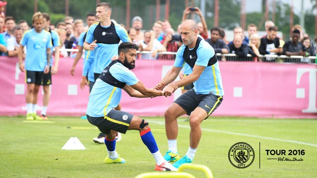 BROTHERS IN ARMS: Gael Clichy and Pablo Zabaleta work together