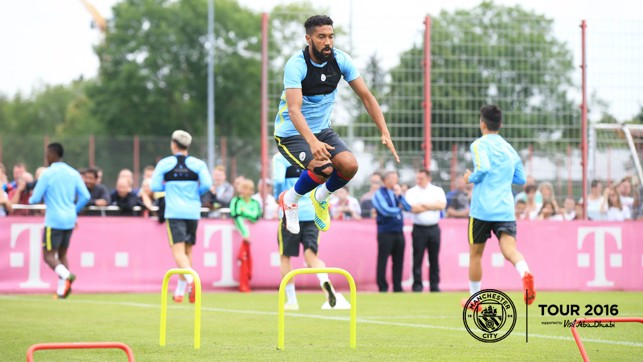 AIM HIGH: Gael Clichy gets some airtime