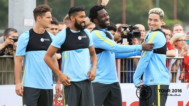 THIS GUY: Wilfried Bony and Samir Nasri share a joke