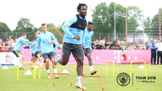 FOLLOW ME: Wilfried Bony leads the pack