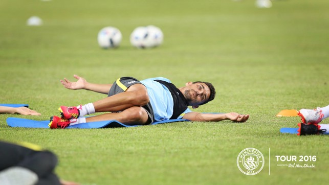PEAK CONDITION: Jesus Navas limbers up.