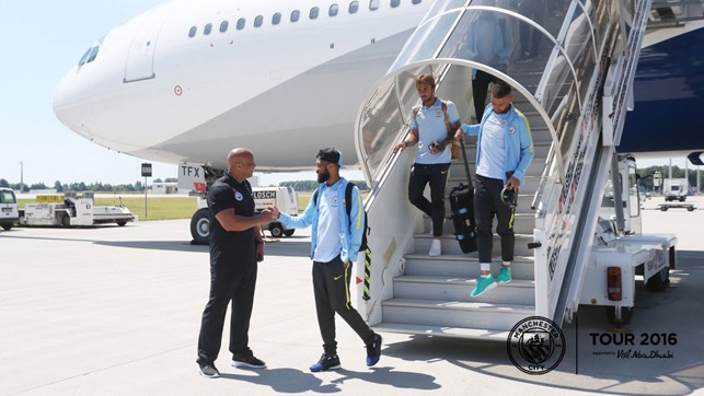 TOUCH DOWN: Gael steps out into the Munich Sun.