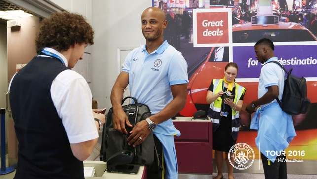 RARING TO GO: The Skipper was in good spirits before the flight out to Munich.