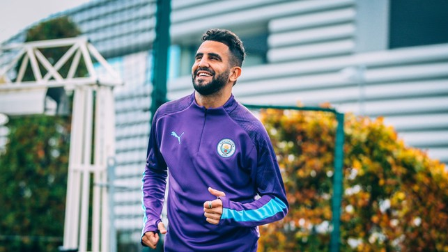 BACK TO WORK: Riyad races onto the training pitch.