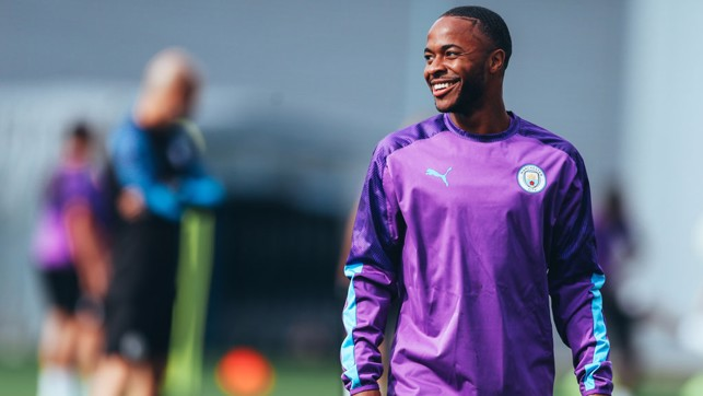 WING COMMAND: Raheem Sterling was also in buoyant mood ahead of the start of our Carabao Cup defence