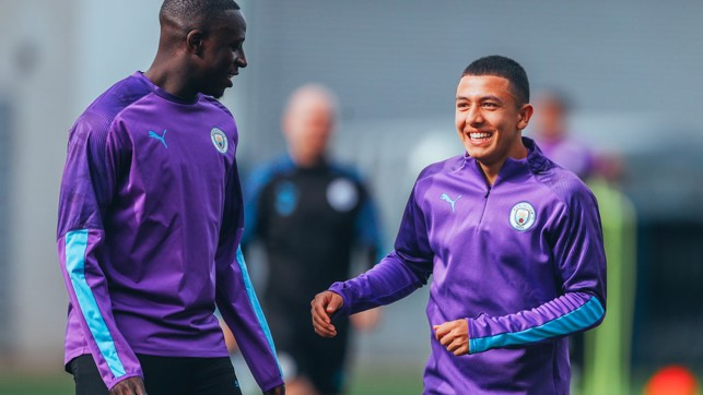 TWO'S COMPANY: Benjamin Mendy and Ian Carlo Poveda are all smiles