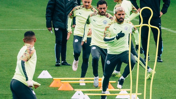 BEST FOOT FORWARD: Sergio Aguero leads the way... Onwards and upwards!