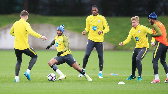 MR FABULOUS: Fabian Delph in action during training