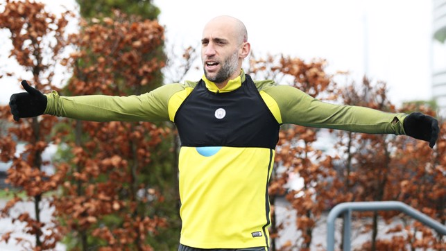 ARMS WIDE OPEN: Zabaleta just wants a hug