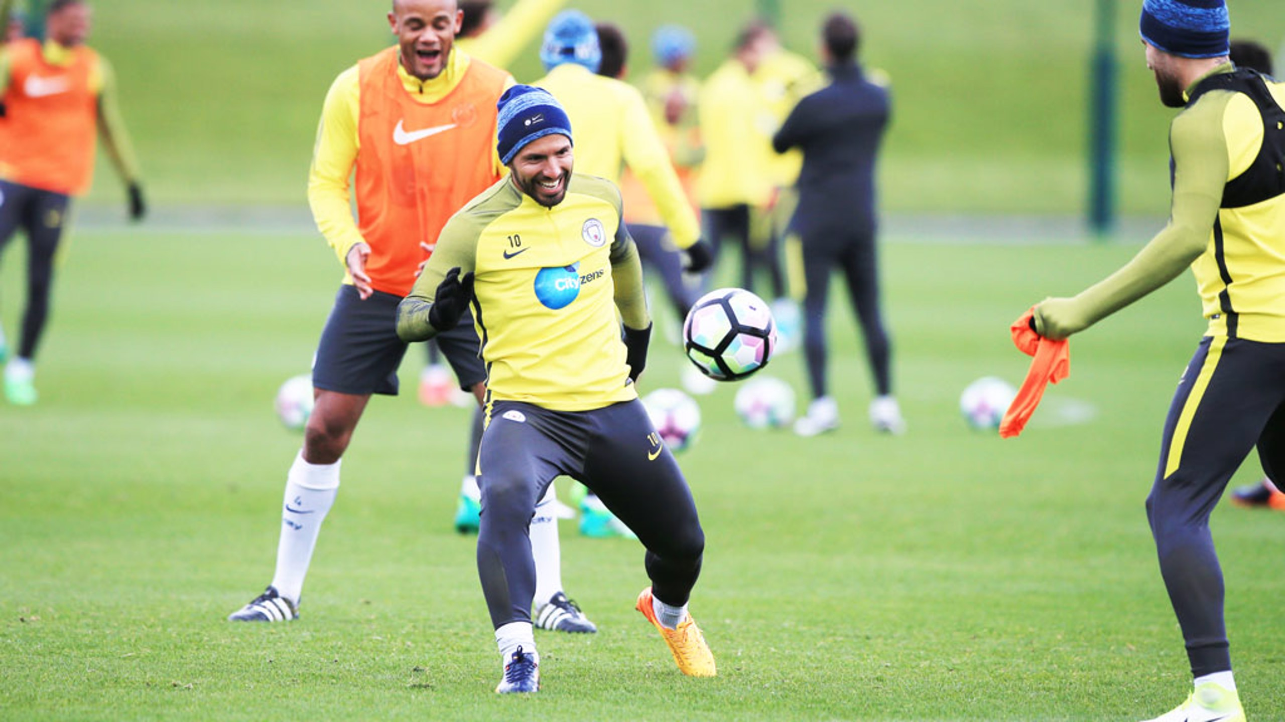 ON THE BALL: Aguero in control as always