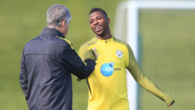 YOUTH AND EXPERIENCE: A delighted Kelechi Iheanacho greets Brian Kidd