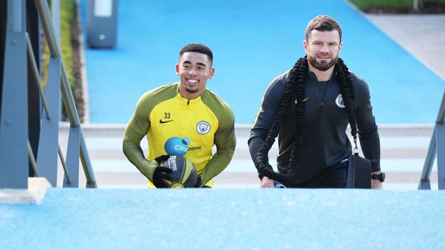 GLAD TO BE BACK: Gabriel Jesus makes his way out to the pitches