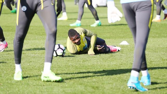 ON THE DECK: Kelechi Iheanacho takes a tumble!
