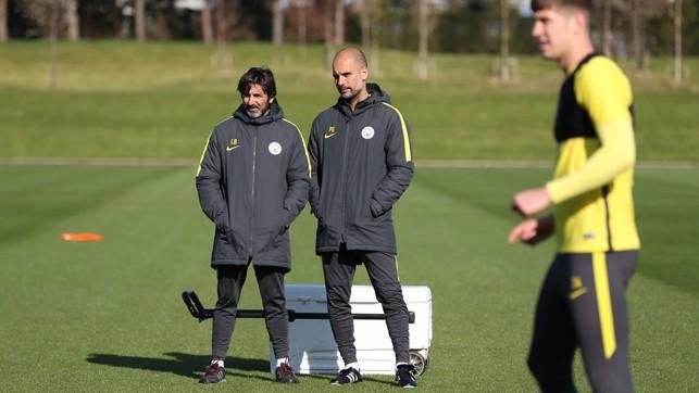 OBSERVATION: Lorenzo Buenaventura and Pep Guardiola watch on