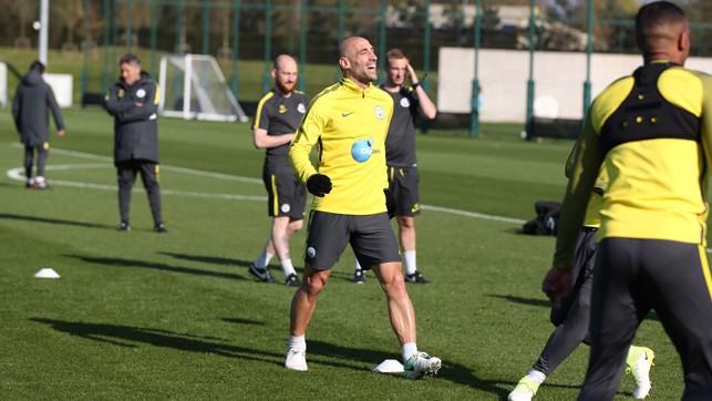 ZABMAN: Pablo Zabaleta enjoys the rare Manchester sunshine!