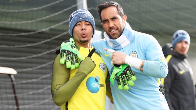 BRAZIL MEETS CHILE: Gabriel and Claudio share a hug