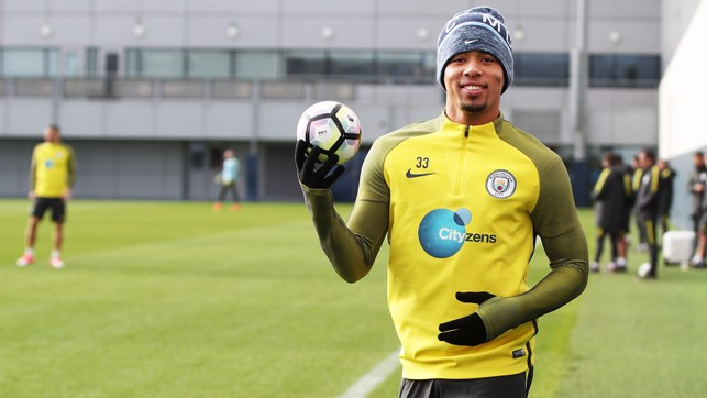 SMALL BALL: Gabriel Jesus smiles with a little ball
