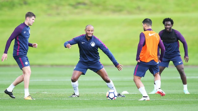 CAPTION: Kompany working on his defense in training