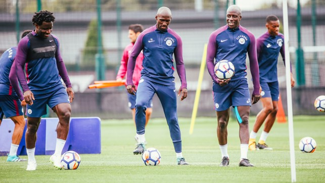 BALL WORK: Getting ready for Tuesday's session.