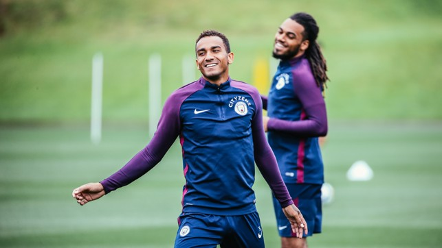DEFENSIVE DUO: Danilo and Jason Denayer warm up together.