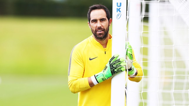 POLE POSITION: Claudio Bravo at training