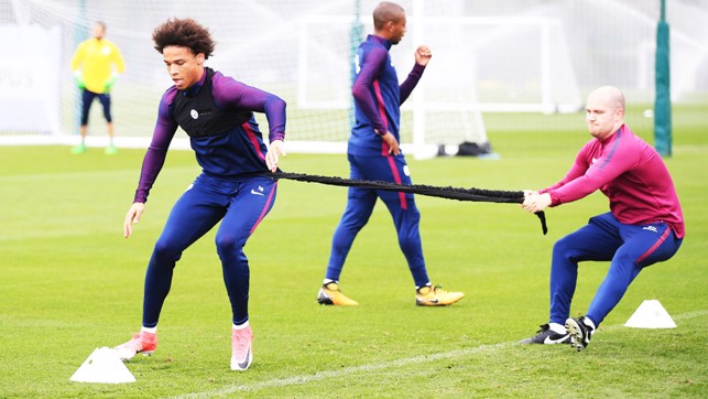 ON A ROPE: Leroy Sane does his best to get away