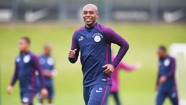 JOG: Fernandinho during a light run at training