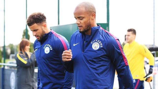 SKIPPER: Vincent Kompany heads to the pitches