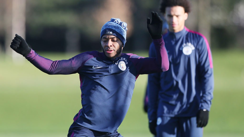HANDS UP: Raheem Sterling trains ahead of Wednesday's match.